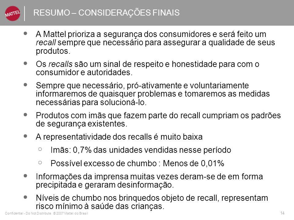 Confidential - Do Not Distribute © 2007 Mattel do Brasil 14 RESUMO – CONSIDERAÇÕES FINAIS A Mattel prioriza a segurança dos consumidores e será feito