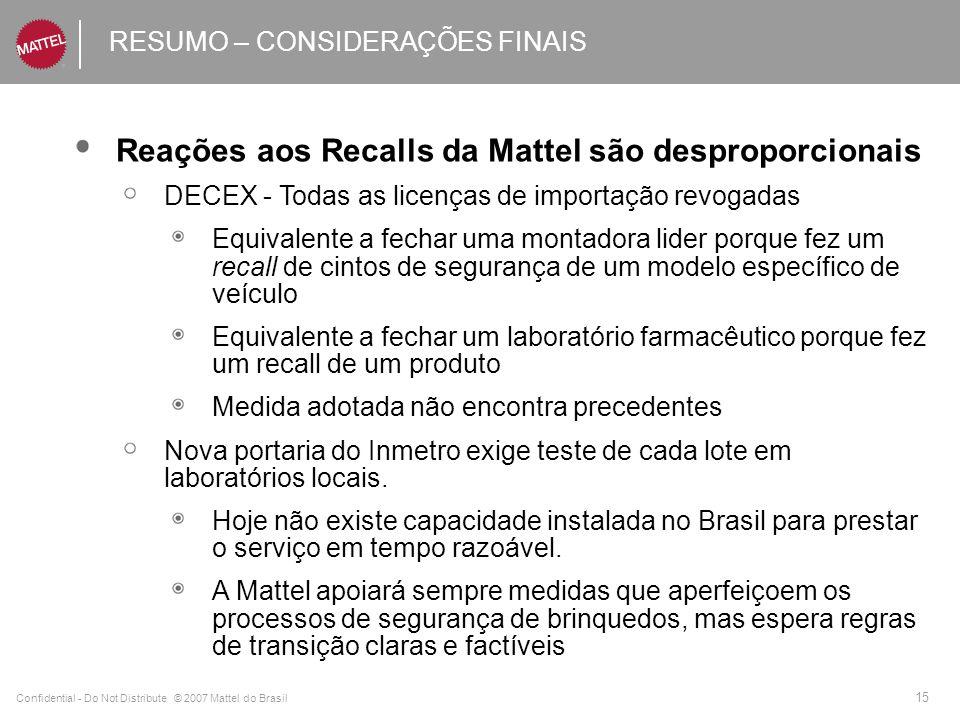 Confidential - Do Not Distribute © 2007 Mattel do Brasil 15 RESUMO – CONSIDERAÇÕES FINAIS Reações aos Recalls da Mattel são desproporcionais DECEX - T