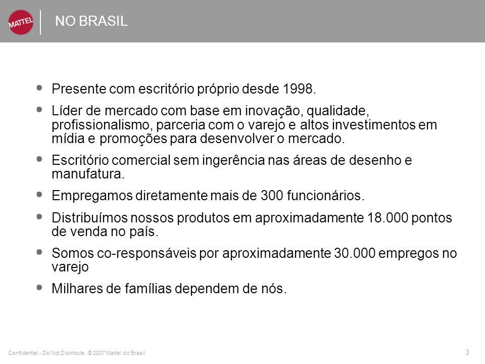 Confidential - Do Not Distribute © 2007 Mattel do Brasil 3 NO BRASIL Presente com escritório próprio desde 1998. Líder de mercado com base em inovação
