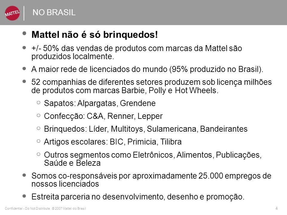 Confidential - Do Not Distribute © 2007 Mattel do Brasil 4 NO BRASIL Mattel não é só brinquedos! +/- 50% das vendas de produtos com marcas da Mattel s