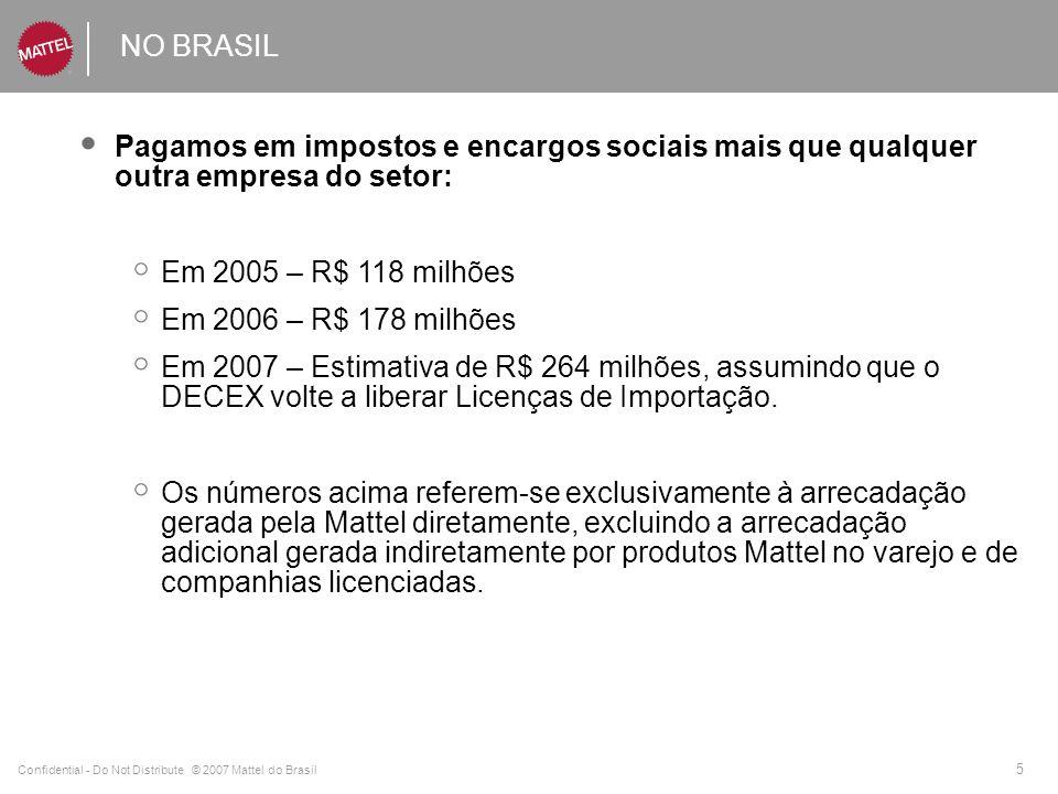 Confidential - Do Not Distribute © 2007 Mattel do Brasil 5 NO BRASIL Pagamos em impostos e encargos sociais mais que qualquer outra empresa do setor: