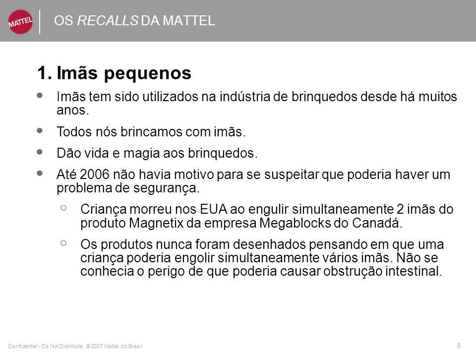 Confidential - Do Not Distribute © 2007 Mattel do Brasil 9 OS RECALLS DA MATTEL Imãs pequenos - continuação Em Novembro de 2006, a Mattel Inc.fez o 1° recall com base em 3 casos que requeriram intervenção médica nos EUA.