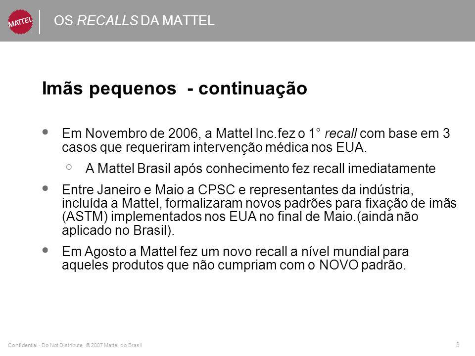 Confidential - Do Not Distribute © 2007 Mattel do Brasil 10 OS RECALLS DA MATTEL Imãs pequenos - continuação Retroativo a produtos vendidos de 2002 a 2007 +/- 18 milhões a nível mundial +/- 850.000 no Brasil Voluntário e preventivo.