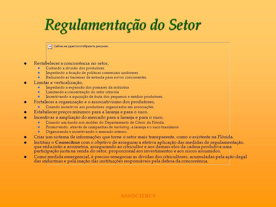 ASSOCITRUS Regulamentação do Setor u Restabelecer a concorrência no setor, u Coibindo a divisão dos produtores u Impedindo a fixação de políticas come