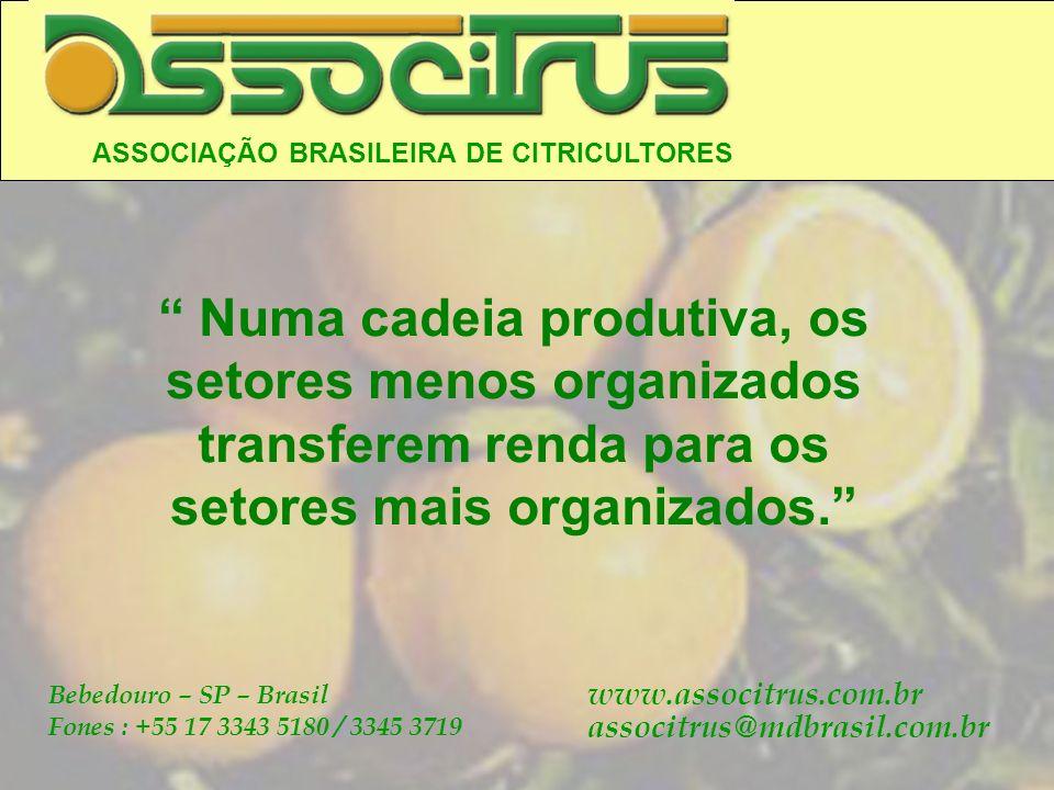 ASSOCIAÇÃO BRASILEIRA DE CITRICULTORES Bebedouro – SP – Brasil Fones : +55 17 3343 5180 / 3345 3719 www.associtrus.com.br associtrus@mdbrasil.com.br N
