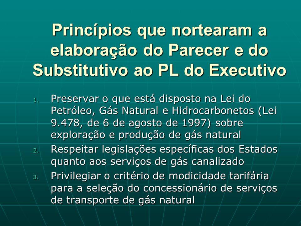 Princípios que nortearam a elaboração do Parecer e do Substitutivo ao PL do Executivo 1.
