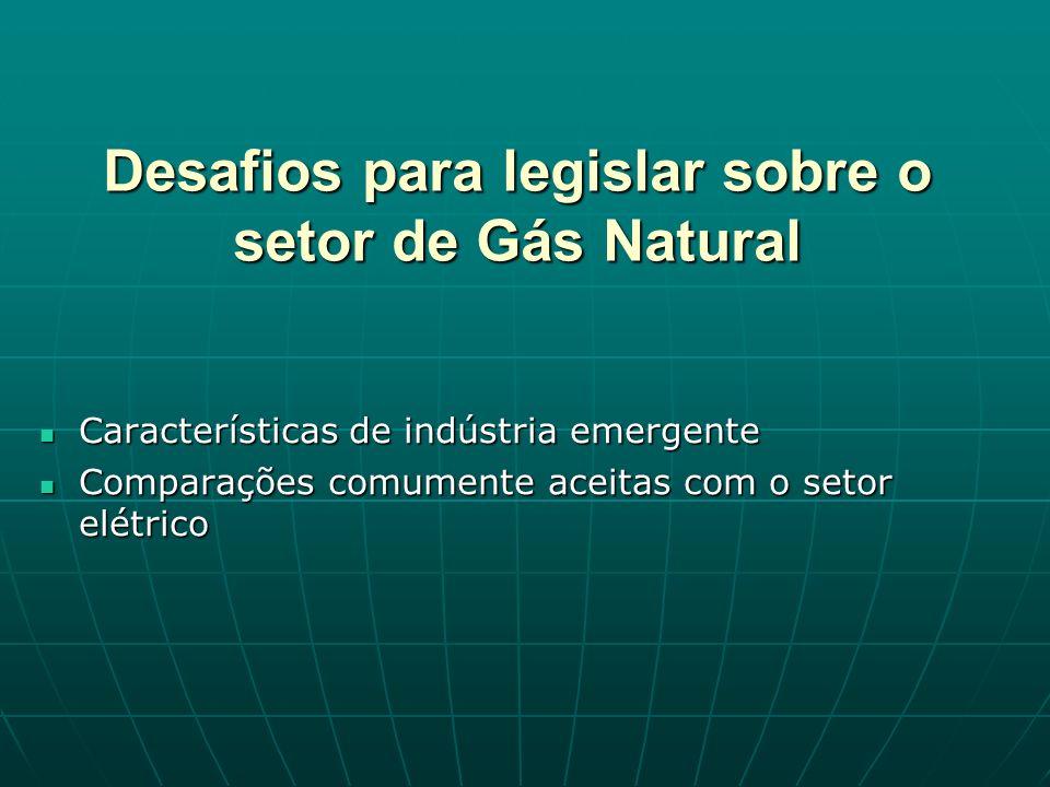 Desafios para legislar sobre o setor de Gás Natural Características de indústria emergente Características de indústria emergente Comparações comumente aceitas com o setor elétrico Comparações comumente aceitas com o setor elétrico