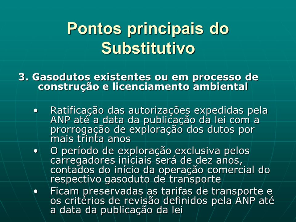 Pontos principais do Substitutivo 3.