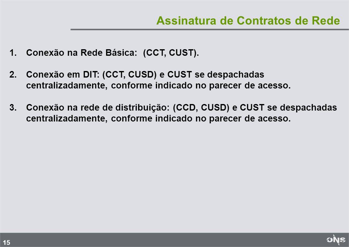 15 Assinatura de Contratos de Rede 1. 1.Conexão na Rede Básica: (CCT, CUST).