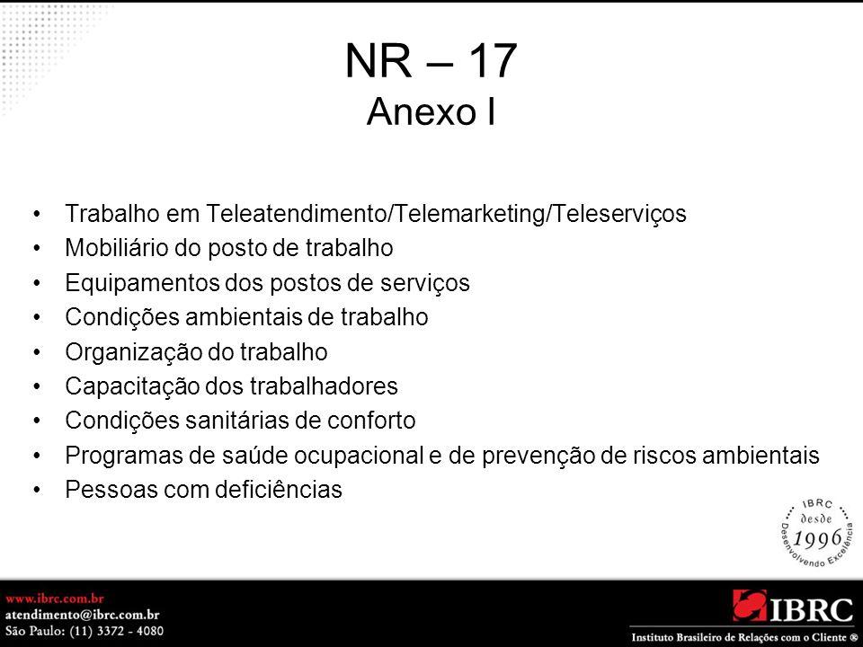 NR – 17 Anexo I Trabalho em Teleatendimento/Telemarketing/Teleserviços Mobiliário do posto de trabalho Equipamentos dos postos de serviços Condições a