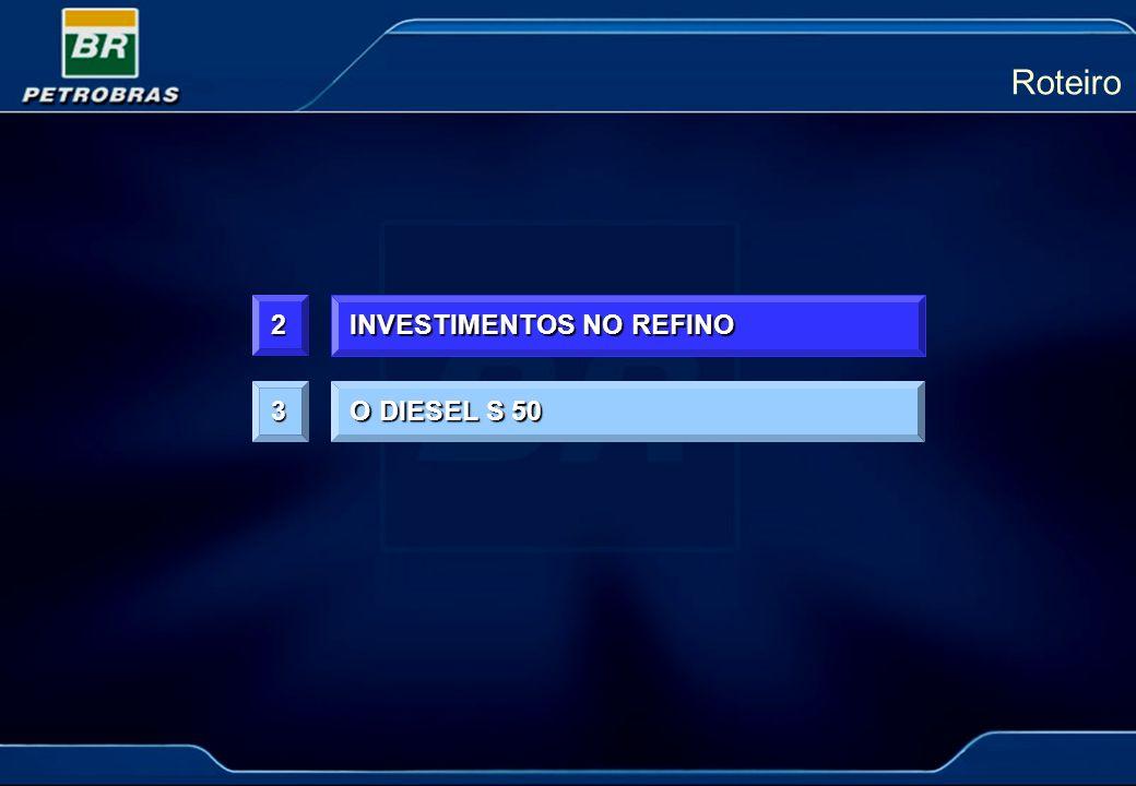 2 INVESTIMENTOS NO REFINO Roteiro O DIESEL S 50 3