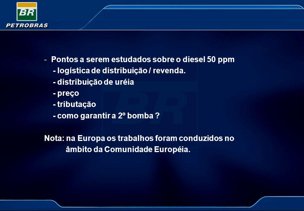 -Pontos a serem estudados sobre o diesel 50 ppm - logística de distribuição / revenda. - distribuição de uréia - preço - tributação - como garantir a