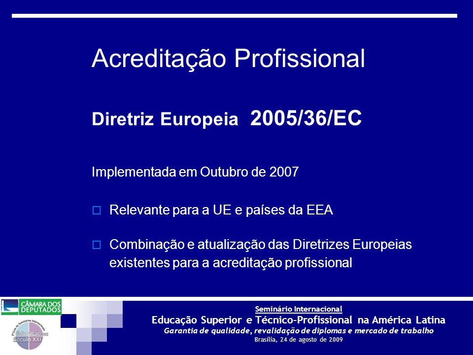 Seminário Internacional Educação Superior e Técnico-Profissional na América Latina Garantia de qualidade, revalidação de diplomas e mercado de trabalho Brasília, 24 de agosto de 2009 Diretrizes Europeias para a Acreditação Profissional Por que essas Diretrizes são necessárias.