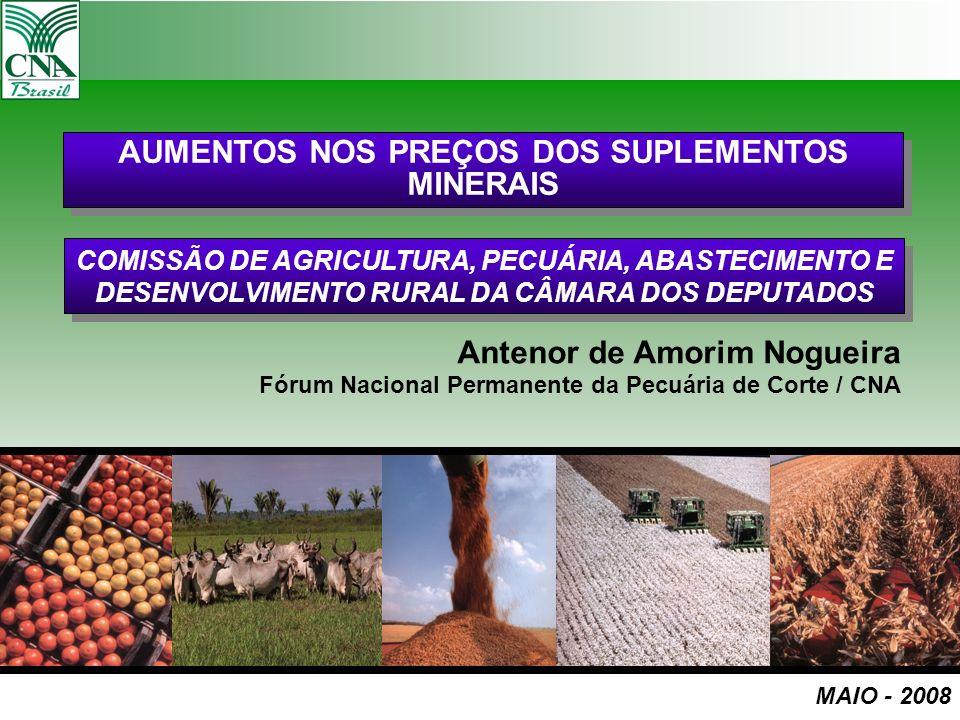 AUMENTOS NOS PREÇOS DOS SUPLEMENTOS MINERAIS Antenor de Amorim Nogueira Fórum Nacional Permanente da Pecuária de Corte / CNA MAIO - 2008 COMISSÃO DE A