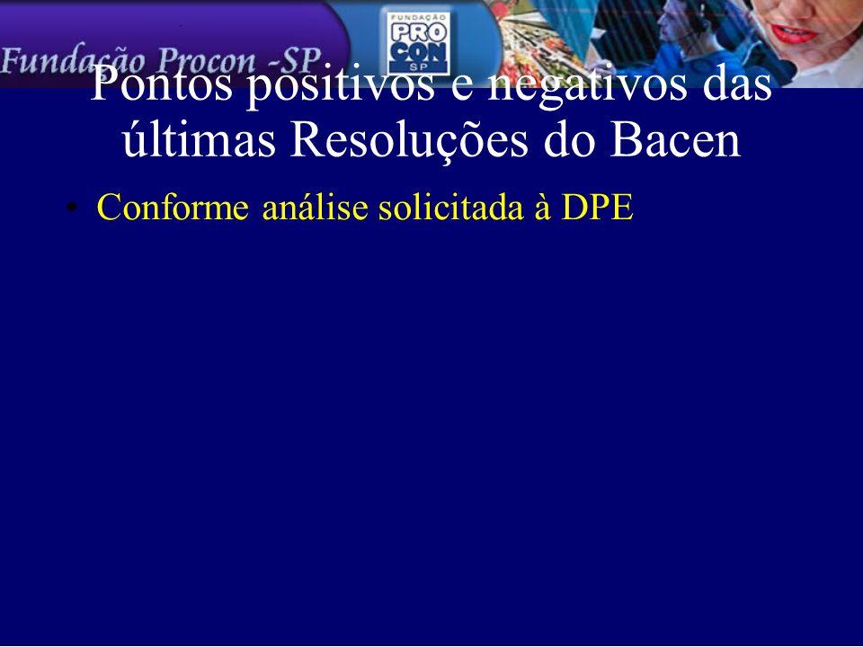 Pontos positivos e negativos das últimas Resoluções do Bacen Conforme análise solicitada à DPE
