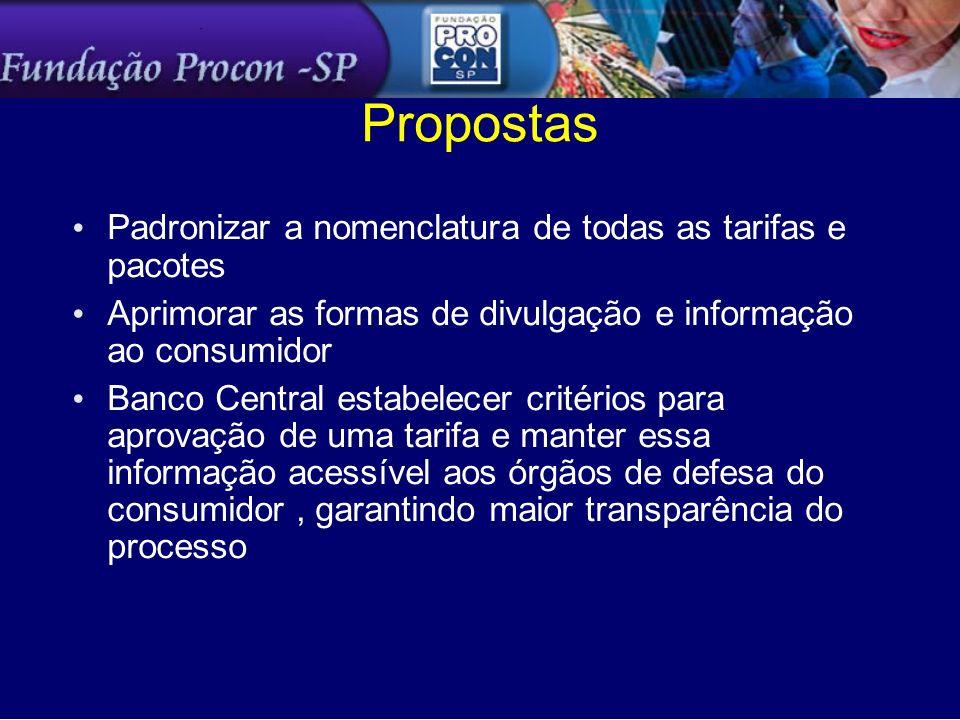 Propostas Padronizar a nomenclatura de todas as tarifas e pacotes Aprimorar as formas de divulgação e informação ao consumidor Banco Central estabelec