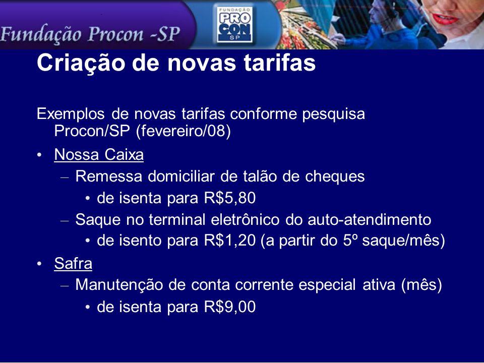 Criação de novas tarifas Exemplos de novas tarifas conforme pesquisa Procon/SP (fevereiro/08) Nossa Caixa – Remessa domiciliar de talão de cheques de