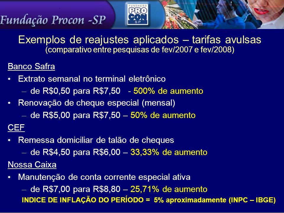 Exemplos de reajustes aplicados – tarifas avulsas (comparativo entre pesquisas de fev/2007 e fev/2008) Banco Safra Extrato semanal no terminal eletrôn