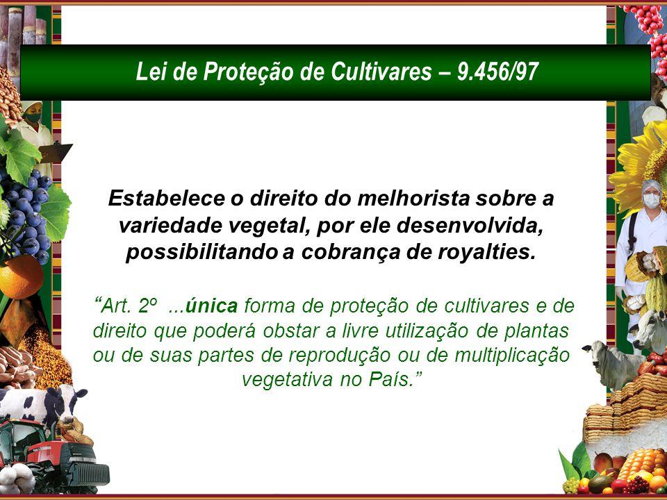 Lei de Proteção de Cultivares – 9.456/97 Estabelece o direito do melhorista sobre a variedade vegetal, por ele desenvolvida, possibilitando a cobrança