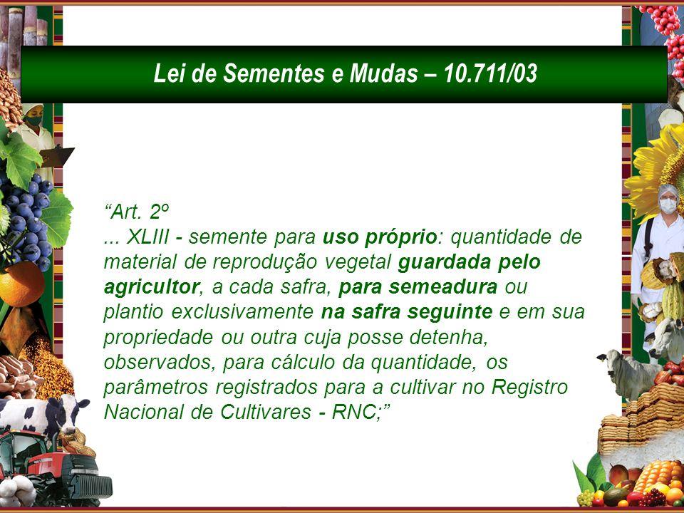 Art. 2º... XLIII - semente para uso próprio: quantidade de material de reprodução vegetal guardada pelo agricultor, a cada safra, para semeadura ou pl