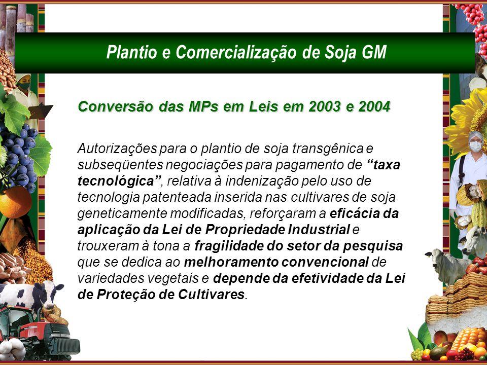 Conversão das MPs em Leis em 2003 e 2004 Autorizações para o plantio de soja transgênica e subseqüentes negociações para pagamento de taxa tecnológica