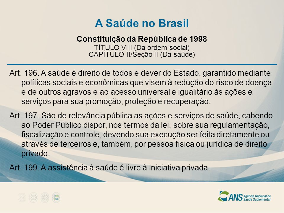 A Saúde no Brasil Constituição da República de 1998 TÍTULO VIII (Da ordem social) CAPÍTULO II/Seção II (Da saúde) Art. 196. A saúde é direito de todos