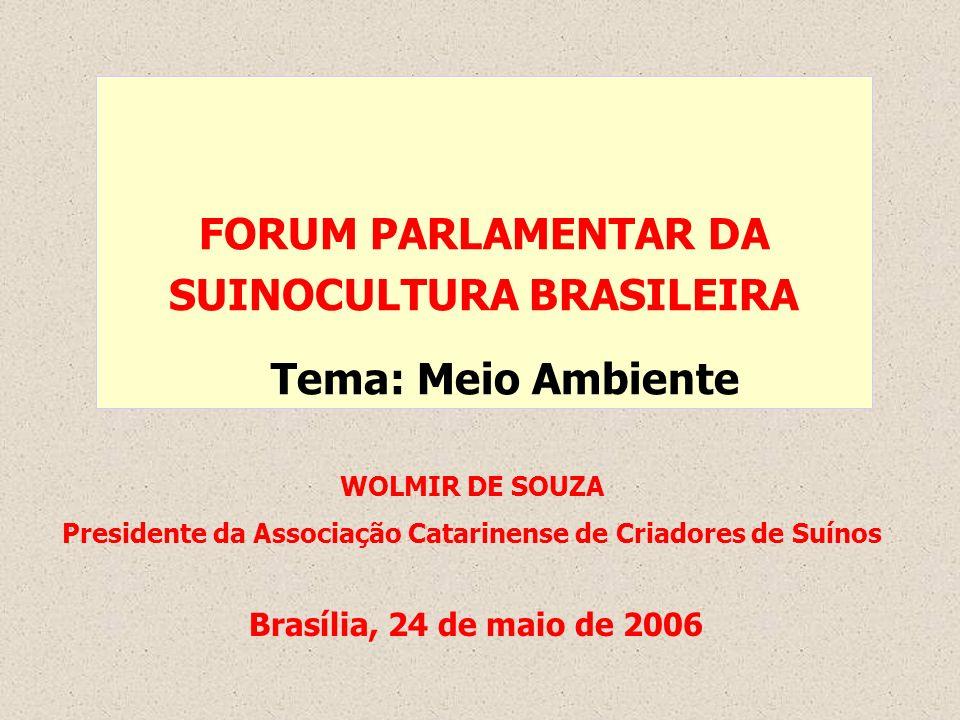 FORUM PARLAMENTAR DA SUINOCULTURA BRASILEIRA Tema: Meio Ambiente WOLMIR DE SOUZA Presidente da Associação Catarinense de Criadores de Suínos Brasília,