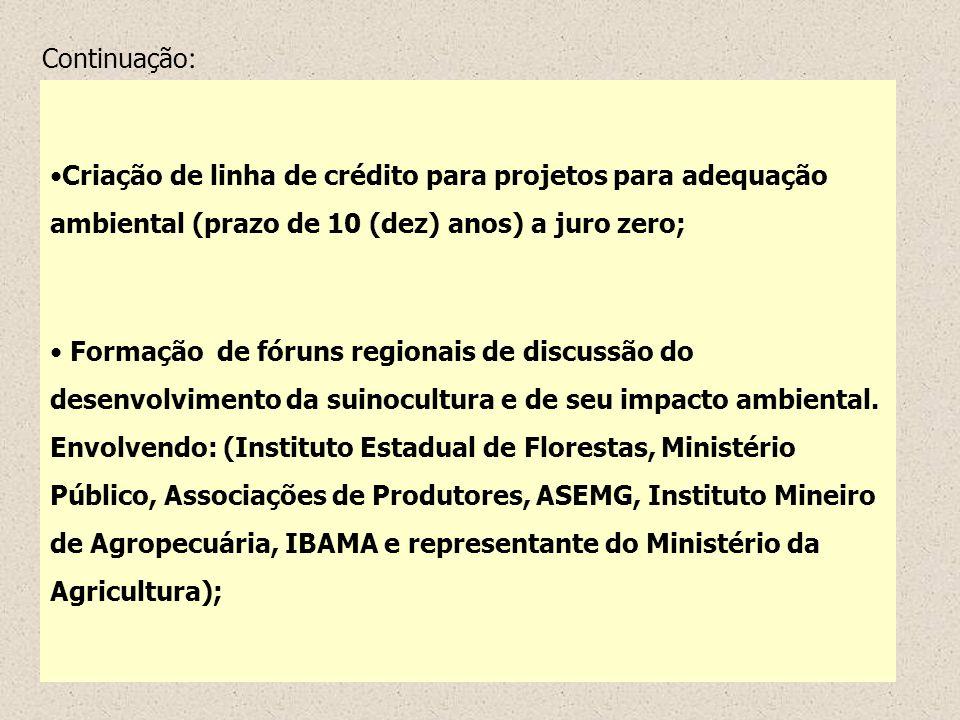 Criação de linha de crédito para projetos para adequação ambiental (prazo de 10 (dez) anos) a juro zero; Formação de fóruns regionais de discussão do