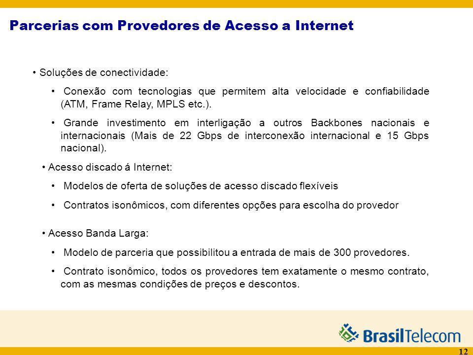 12 Parcerias com Provedores de Acesso a Internet Soluções de conectividade: Conexão com tecnologias que permitem alta velocidade e confiabilidade (ATM