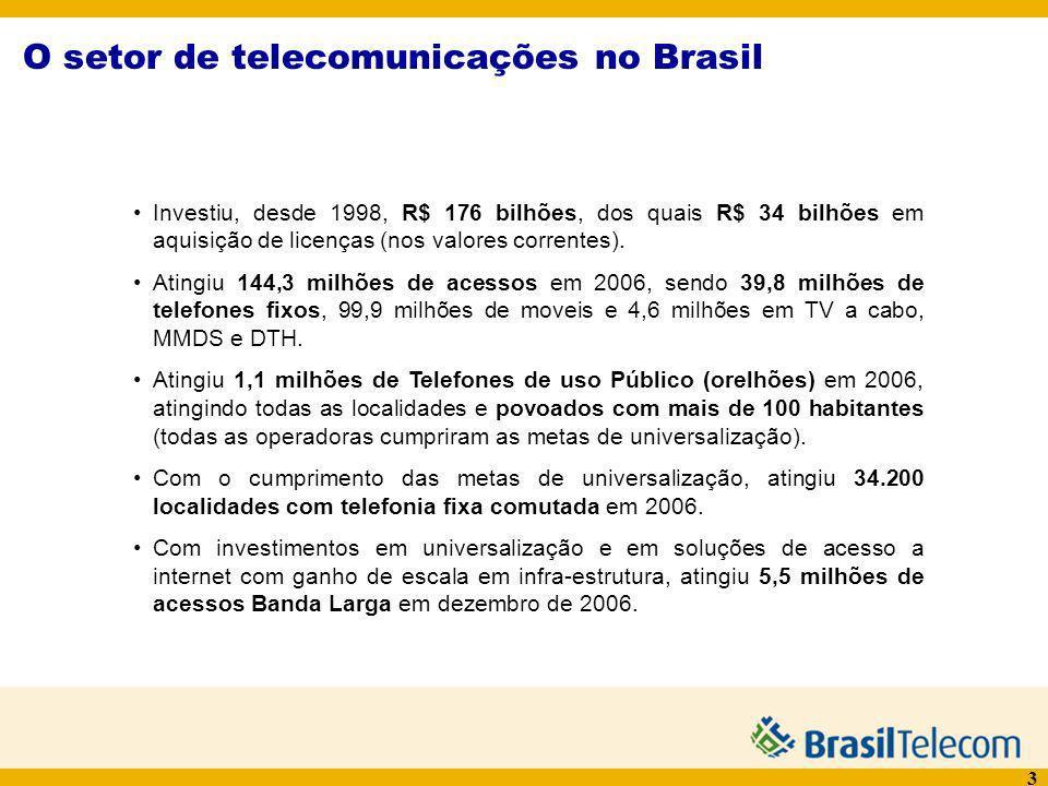 4 A Brasil Telecom Fontes: CyDC, Rede BrT, Relatórios 4T06 e 1T07 10,4 milhões de linhas instaladas 8,3 milhões de linhas em serviço 1,38 milhões de acessos ADSL em serviço 196 mil portas Dial que atendem 1,3 milhões de acessos à Internet 3,64 milhões de acessos móveis em serviço – 12,9% de participação na Região II do PGO Mais de 300 clientes de Data Center