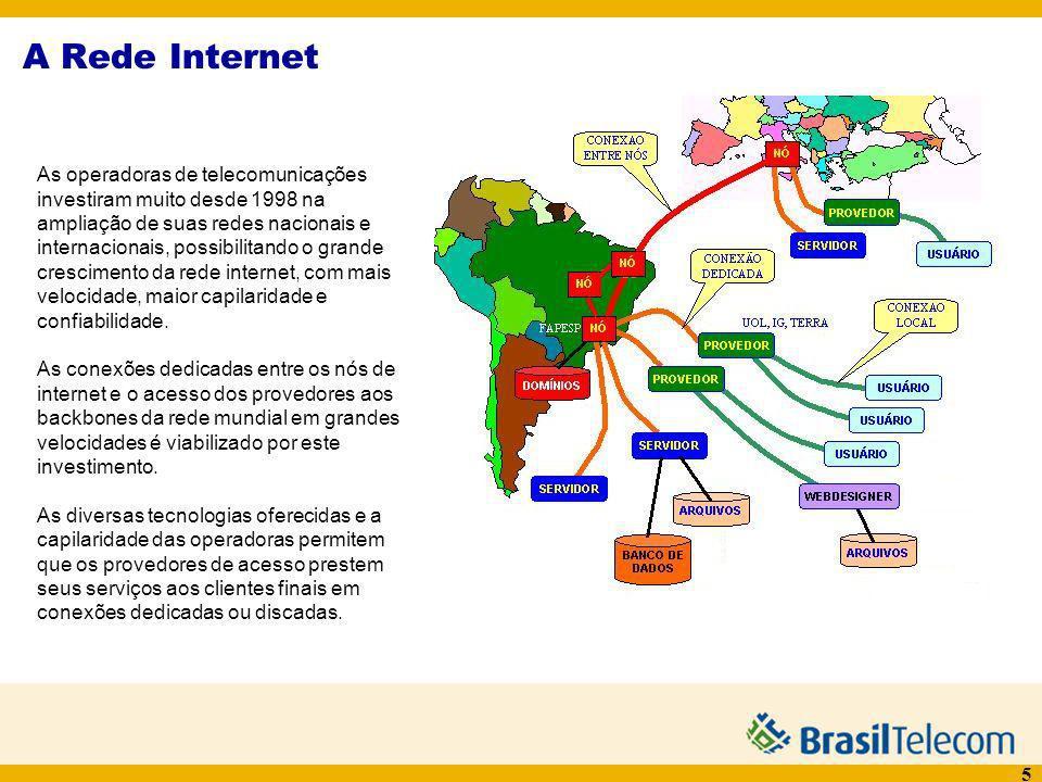 5 A Rede Internet As operadoras de telecomunicações investiram muito desde 1998 na ampliação de suas redes nacionais e internacionais, possibilitando