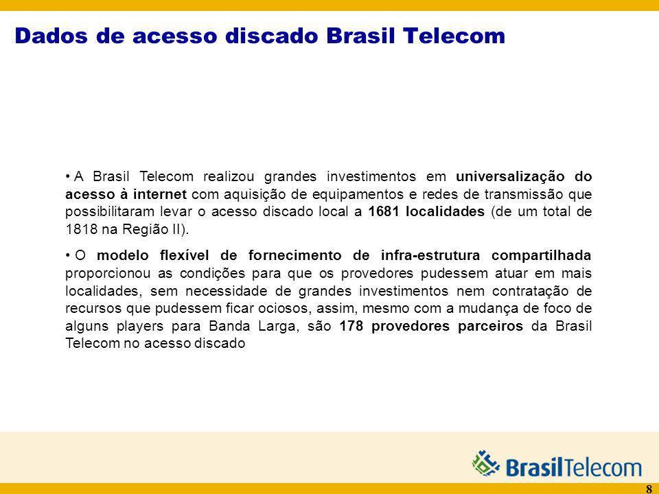8 Dados de acesso discado Brasil Telecom A Brasil Telecom realizou grandes investimentos em universalização do acesso à internet com aquisição de equi