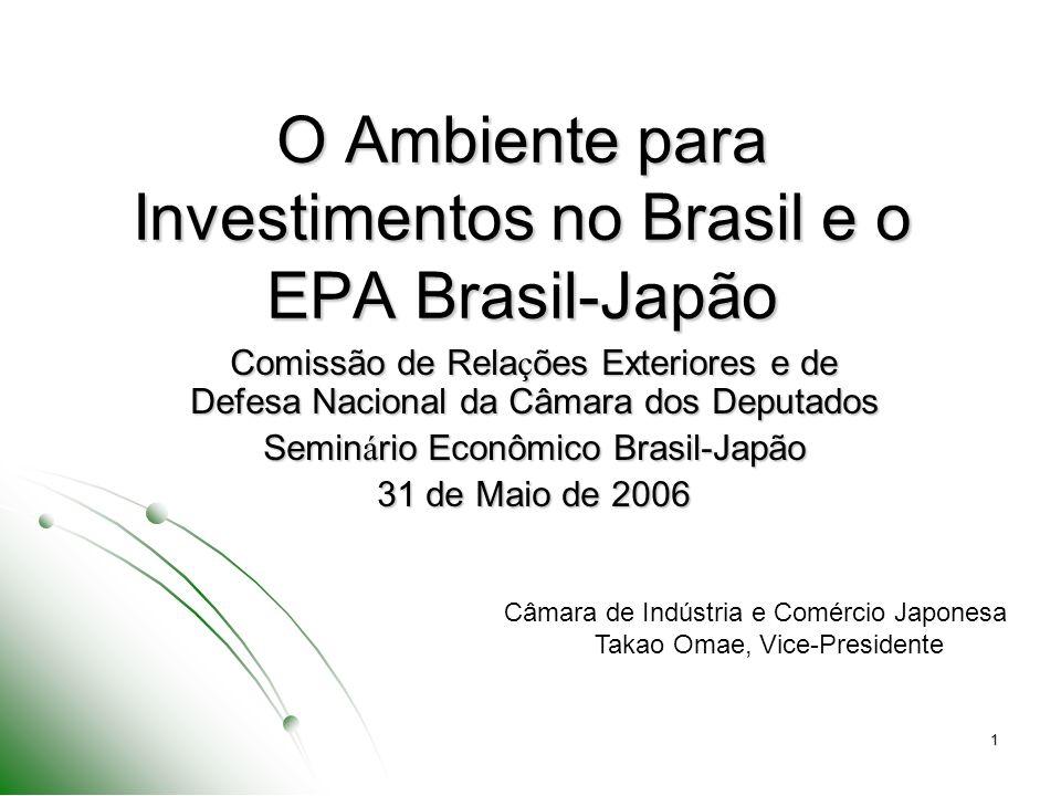 1 O Ambiente para Investimentos no Brasil e o EPA Brasil-Japão Comissão de Rela ç ões Exteriores e de Defesa Nacional da Câmara dos Deputados Semin á rio Econômico Brasil-Japão 31 de Maio de 2006 Câmara de Indústria e Comércio Japonesa Takao Omae, Vice-Presidente