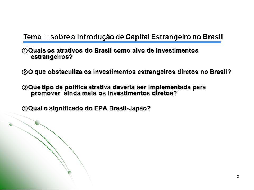 3 Quais os atrativos do Brasil como alvo de investimentos estrangeiros.