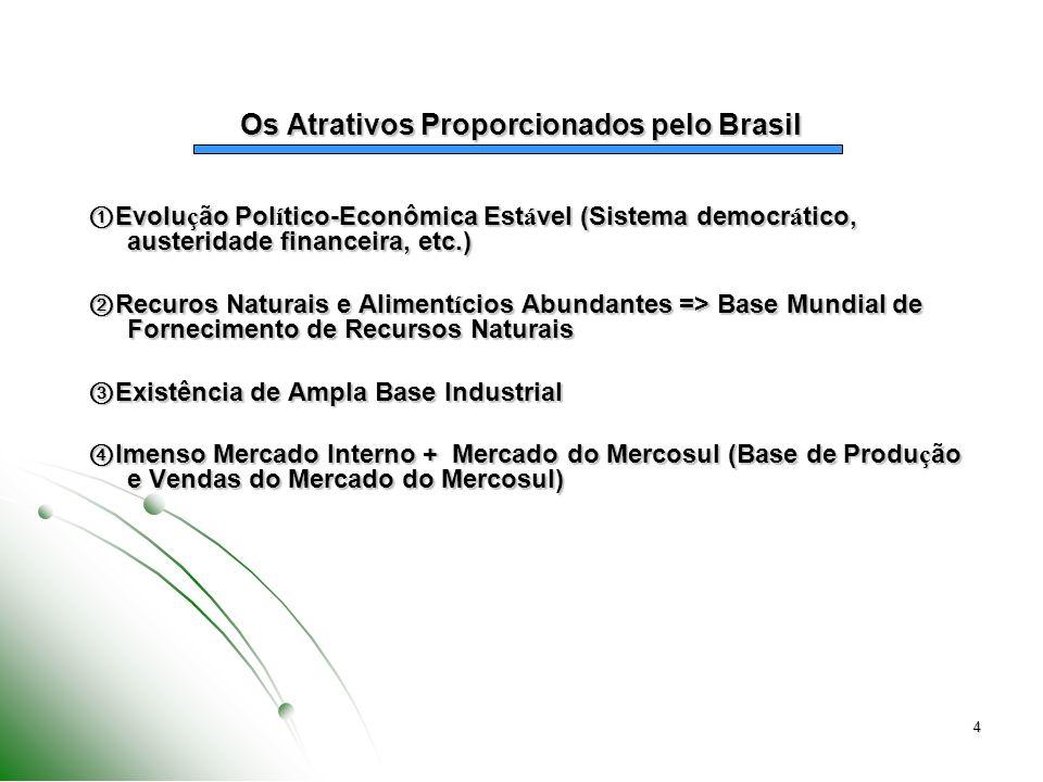 4 Os Atrativos Proporcionados pelo Brasil Evolu ç ão Pol í tico-Econômica Est á vel (Sistema democr á tico, austeridade financeira, etc.) Evolu ç ão P
