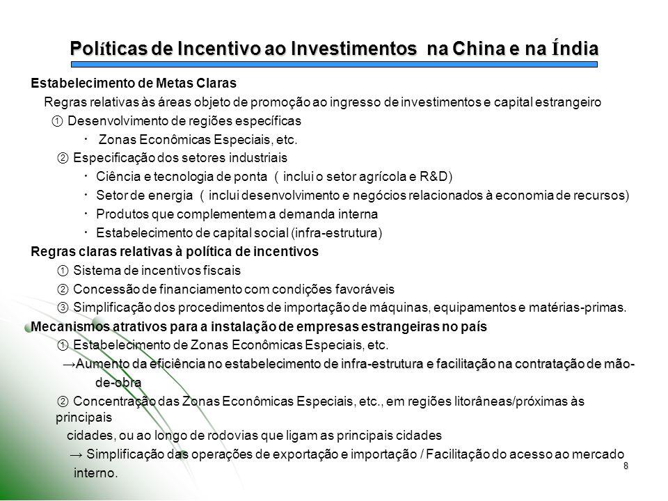 8 Estabelecimento de Metas Claras Regras relativas às áreas objeto de promoção ao ingresso de investimentos e capital estrangeiro Desenvolvimento de r