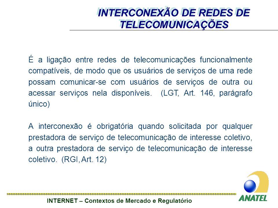 INTERNET – Contextos de Mercado e Regulatório É a ligação entre redes de telecomunicações funcionalmente compatíveis, de modo que os usuários de serviços de uma rede possam comunicar-se com usuários de serviços de outra ou acessar serviços nela disponíveis.