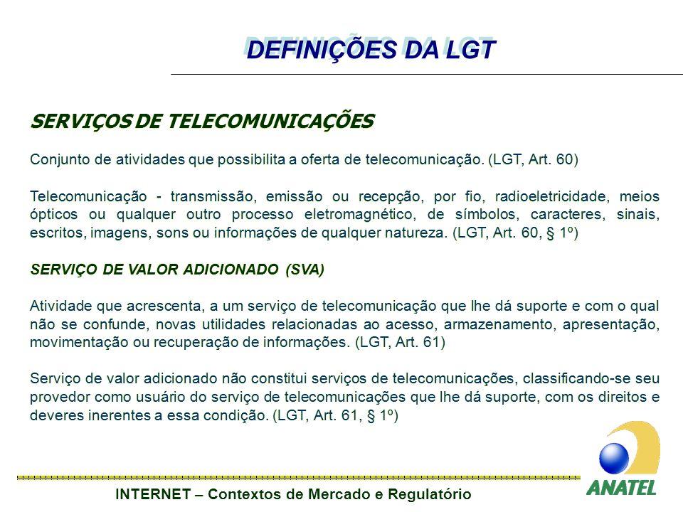 INTERNET – Contextos de Mercado e Regulatório SERVIÇOS DE TELECOMUNICAÇÕES Conjunto de atividades que possibilita a oferta de telecomunicação.