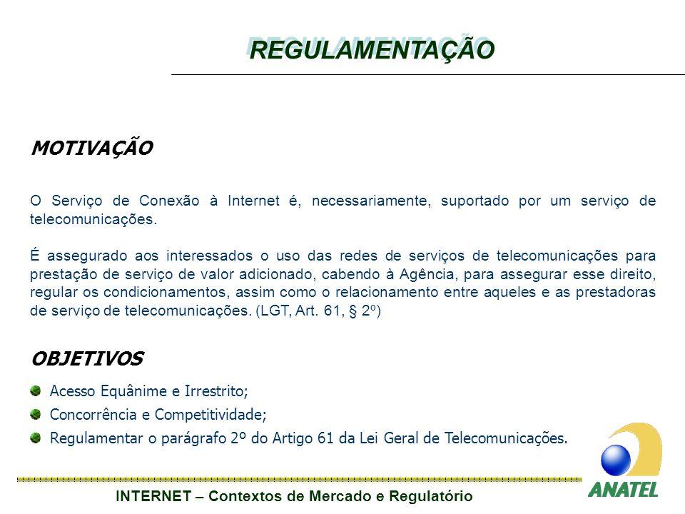 INTERNET – Contextos de Mercado e Regulatório MOTIVAÇÃO O Serviço de Conexão à Internet é, necessariamente, suportado por um serviço de telecomunicações.