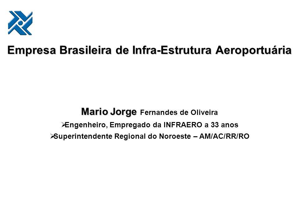 Empresa Brasileira de Infra-Estrutura Aeroportuária Mario Jorge Mario Jorge Fernandes de Oliveira Engenheiro, Empregado da INFRAERO a 33 anos Superint