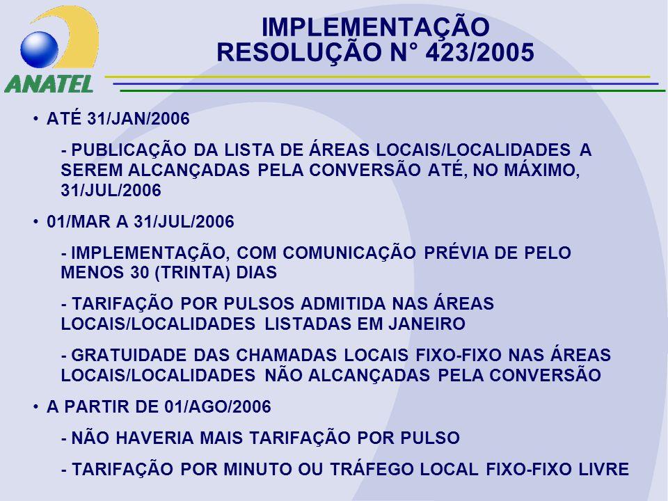 IMPLEMENTAÇÃO RESOLUÇÃO N° 423/2005 ATÉ 31/JAN/2006 - PUBLICAÇÃO DA LISTA DE ÁREAS LOCAIS/LOCALIDADES A SEREM ALCANÇADAS PELA CONVERSÃO ATÉ, NO MÁXIMO, 31/JUL/2006 01/MAR A 31/JUL/2006 - IMPLEMENTAÇÃO, COM COMUNICAÇÃO PRÉVIA DE PELO MENOS 30 (TRINTA) DIAS - TARIFAÇÃO POR PULSOS ADMITIDA NAS ÁREAS LOCAIS/LOCALIDADES LISTADAS EM JANEIRO - GRATUIDADE DAS CHAMADAS LOCAIS FIXO-FIXO NAS ÁREAS LOCAIS/LOCALIDADES NÃO ALCANÇADAS PELA CONVERSÃO A PARTIR DE 01/AGO/2006 - NÃO HAVERIA MAIS TARIFAÇÃO POR PULSO - TARIFAÇÃO POR MINUTO OU TRÁFEGO LOCAL FIXO-FIXO LIVRE