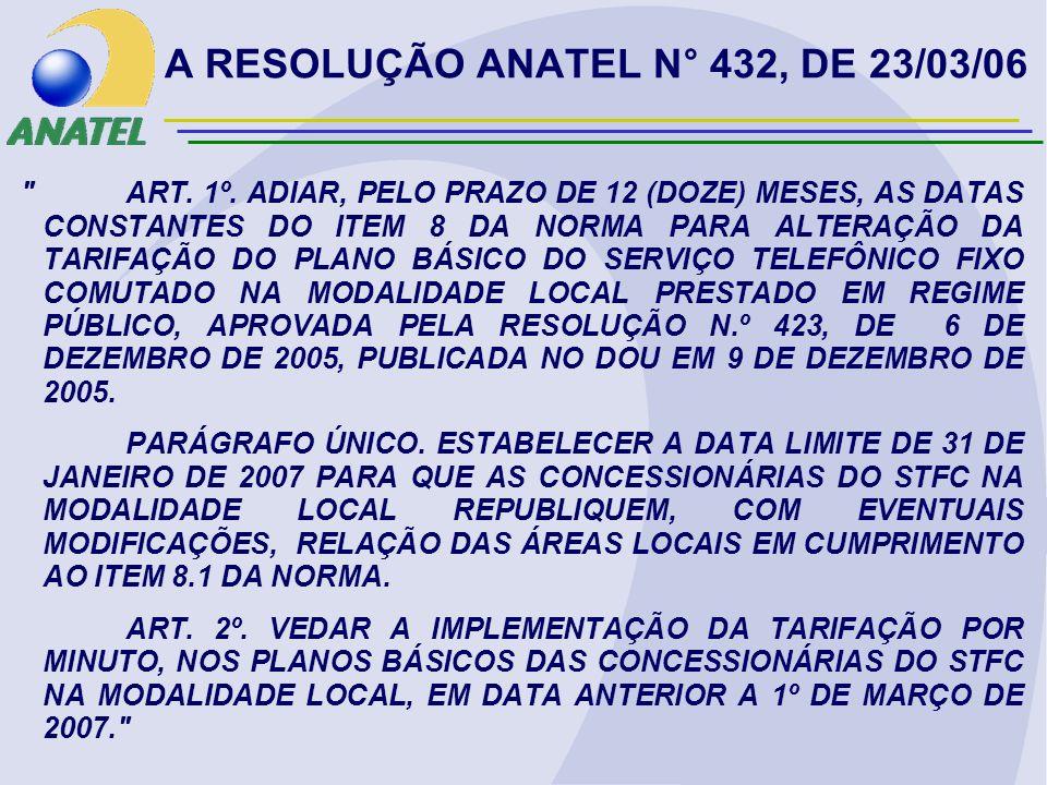 A RESOLUÇÃO ANATEL N° 432, DE 23/03/06 ART. 1º.