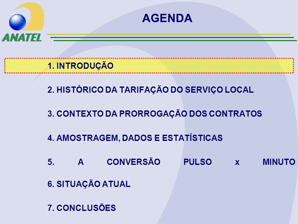 A ALTERAÇÃO DA TARIFAÇÃO NÃO PODE SER FEITA POR INTERMÉDIO DE UMA SIMPLES FORMULA MATEMÁTICA -EX: $MIN NÃO É IGUAL A $PULSO/4 A MAIOR PARTE DOS ASSINANTES RESIDENCIAIS NÃO ULTRAPASSA O LIMITE DA FRANQUIA (PAGAM APENAS ASSINATURA) O ASSINANTE QUE ULTRAPASSA A FRANQUIA, EM GERAL, FAZ CHAMADAS BREVES, MÉDIAS E DEMORADAS O PRESSUPOSTO DE EQUILÍBRIO FOI ESTABELECIDO PARA UM DADO INSTANTE ASSUMINDO-SE QUE OS PERFIS DE USO SE MANTIVESSEM -CHAMADAS BREVES FICAM MAIS BARATAS -CHAMADAS DE MÉDIA DURAÇÃO FICAM INALTERADAS -CHAMADAS DEMORADAS FICAM MAIS CARAS CONSIDERAÇÕES FINAIS SOBRE A CONVERSÃO PULSOxMINUTO EM RELAÇÃO AO MÉTODO DE TARIFAÇÃO POR PULSOS