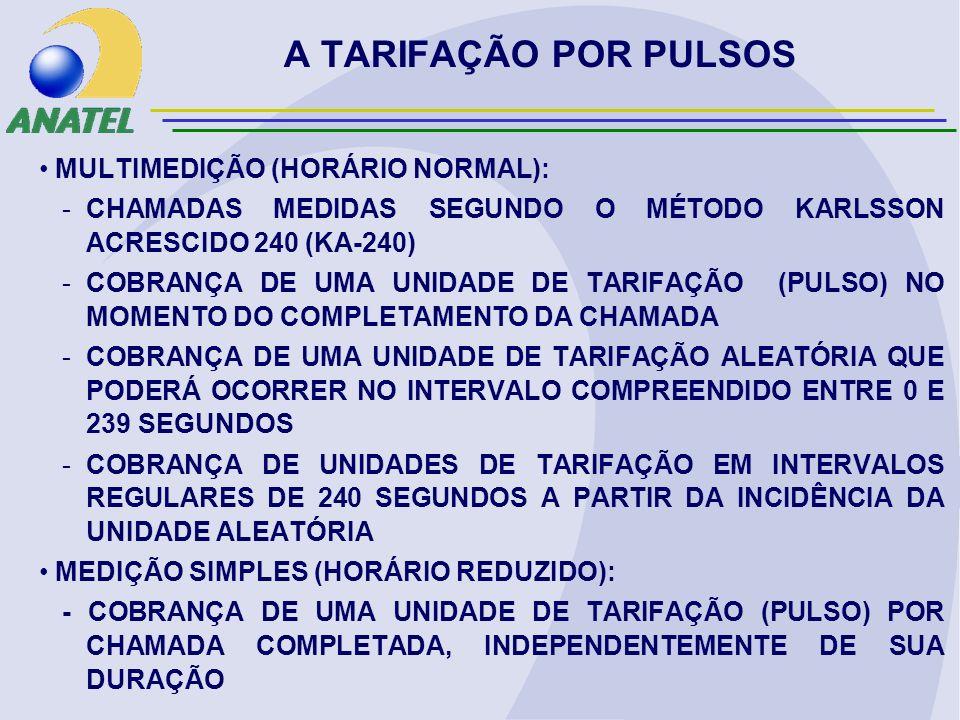 MULTIMEDIÇÃO (HORÁRIO NORMAL): -CHAMADAS MEDIDAS SEGUNDO O MÉTODO KARLSSON ACRESCIDO 240 (KA-240) -COBRANÇA DE UMA UNIDADE DE TARIFAÇÃO (PULSO) NO MOMENTO DO COMPLETAMENTO DA CHAMADA -COBRANÇA DE UMA UNIDADE DE TARIFAÇÃO ALEATÓRIA QUE PODERÁ OCORRER NO INTERVALO COMPREENDIDO ENTRE 0 E 239 SEGUNDOS -COBRANÇA DE UNIDADES DE TARIFAÇÃO EM INTERVALOS REGULARES DE 240 SEGUNDOS A PARTIR DA INCIDÊNCIA DA UNIDADE ALEATÓRIA MEDIÇÃO SIMPLES (HORÁRIO REDUZIDO): - COBRANÇA DE UMA UNIDADE DE TARIFAÇÃO (PULSO) POR CHAMADA COMPLETADA, INDEPENDENTEMENTE DE SUA DURAÇÃO A TARIFAÇÃO POR PULSOS