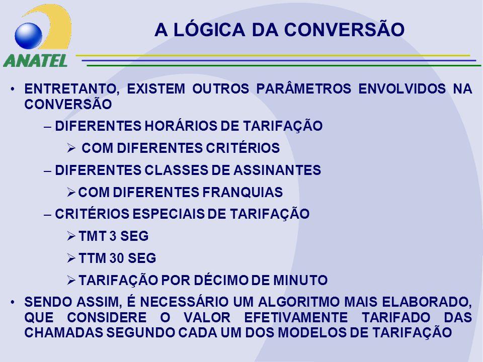 ENTRETANTO, EXISTEM OUTROS PARÂMETROS ENVOLVIDOS NA CONVERSÃO – DIFERENTES HORÁRIOS DE TARIFAÇÃO COM DIFERENTES CRITÉRIOS – DIFERENTES CLASSES DE ASSINANTES COM DIFERENTES FRANQUIAS – CRITÉRIOS ESPECIAIS DE TARIFAÇÃO TMT 3 SEG TTM 30 SEG TARIFAÇÃO POR DÉCIMO DE MINUTO SENDO ASSIM, É NECESSÁRIO UM ALGORITMO MAIS ELABORADO, QUE CONSIDERE O VALOR EFETIVAMENTE TARIFADO DAS CHAMADAS SEGUNDO CADA UM DOS MODELOS DE TARIFAÇÃO A LÓGICA DA CONVERSÃO