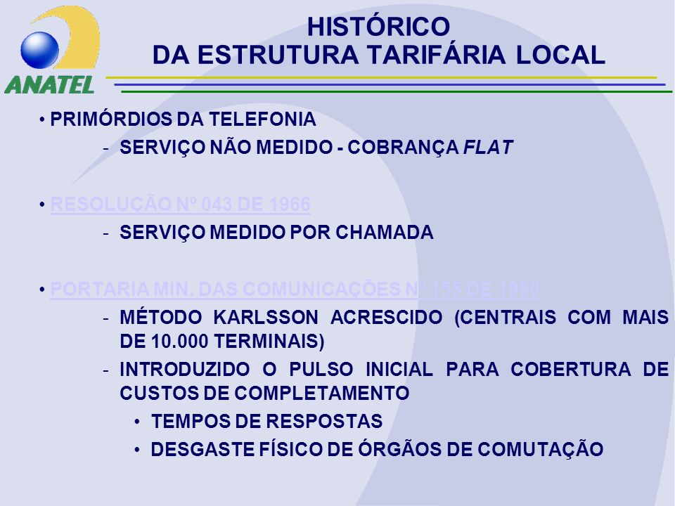 PRIMÓRDIOS DA TELEFONIA -SERVIÇO NÃO MEDIDO - COBRANÇA FLAT RESOLUÇÃO Nº 043 DE 1966RESOLUÇÃO Nº 043 DE 1966 -SERVIÇO MEDIDO POR CHAMADA PORTARIA MIN.