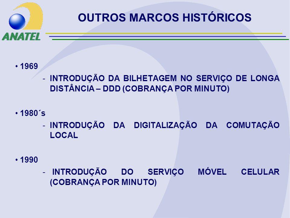 1969 -INTRODUÇÃO DA BILHETAGEM NO SERVIÇO DE LONGA DISTÂNCIA – DDD (COBRANÇA POR MINUTO) 1980´s -INTRODUÇÃO DA DIGITALIZAÇÃO DA COMUTAÇÃO LOCAL 1990 - INTRODUÇÃO DO SERVIÇO MÓVEL CELULAR (COBRANÇA POR MINUTO) OUTROS MARCOS HISTÓRICOS