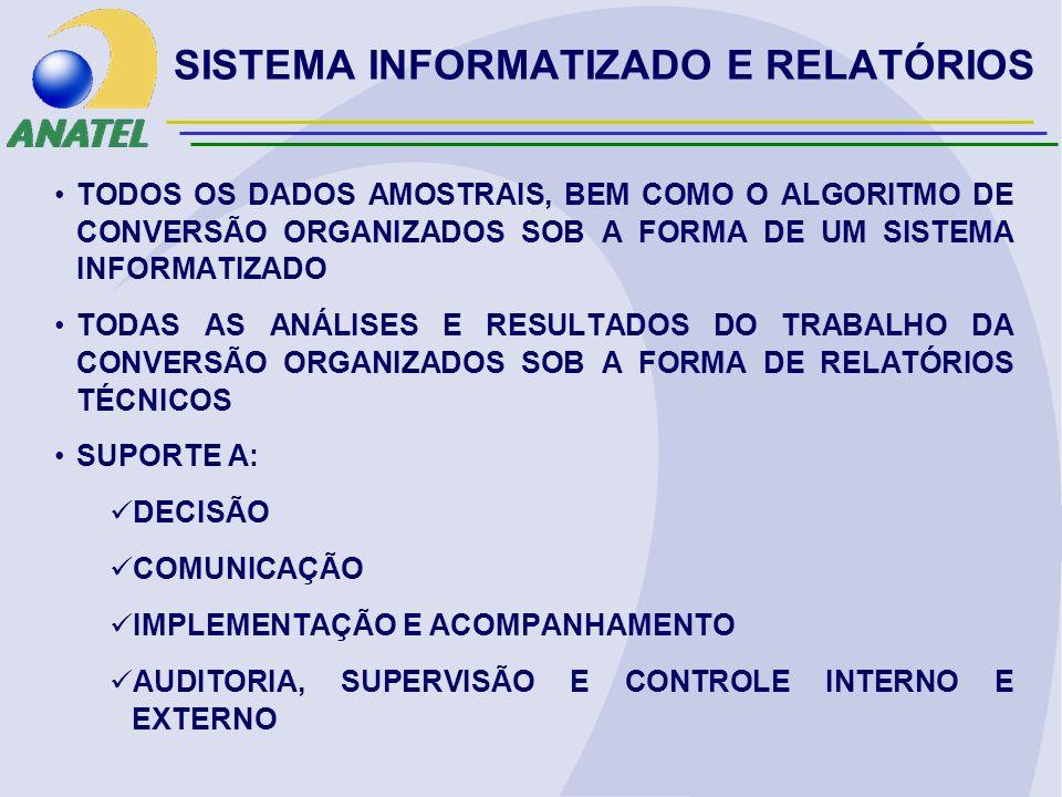 SISTEMA INFORMATIZADO E RELATÓRIOS TODOS OS DADOS AMOSTRAIS, BEM COMO O ALGORITMO DE CONVERSÃO ORGANIZADOS SOB A FORMA DE UM SISTEMA INFORMATIZADO TODAS AS ANÁLISES E RESULTADOS DO TRABALHO DA CONVERSÃO ORGANIZADOS SOB A FORMA DE RELATÓRIOS TÉCNICOS SUPORTE A: DECISÃO COMUNICAÇÃO IMPLEMENTAÇÃO E ACOMPANHAMENTO AUDITORIA, SUPERVISÃO E CONTROLE INTERNO E EXTERNO