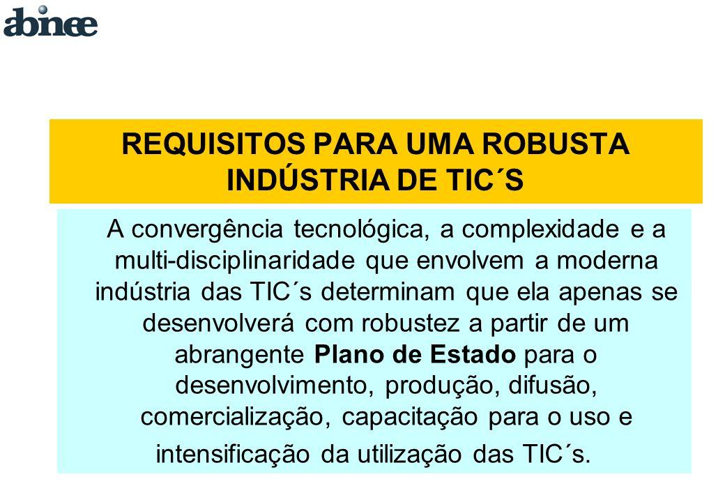 REQUISITOS PARA UMA ROBUSTA INDÚSTRIA DE TIC´S A convergência tecnológica, a complexidade e a multi-disciplinaridade que envolvem a moderna indústria