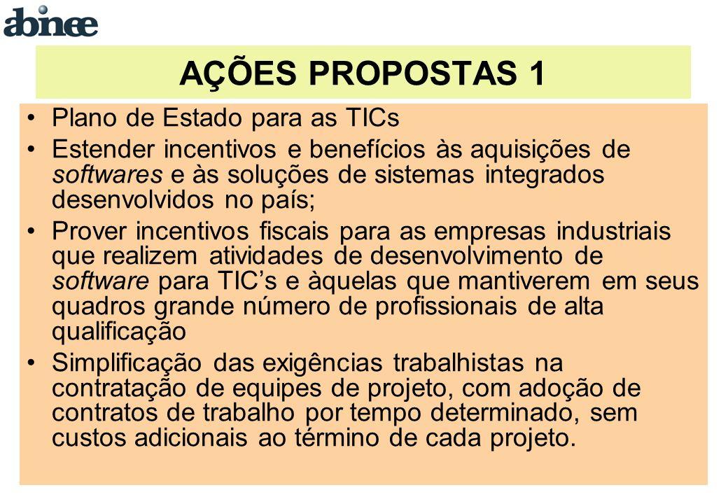 AÇÕES PROPOSTAS 1 Plano de Estado para as TICs Estender incentivos e benefícios às aquisições de softwares e às soluções de sistemas integrados desenv